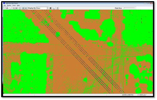 Classified LiDAR Point Cloud (Brown = Ground, Green = Vegetation)